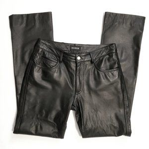 Guess Genuine Black Leather Pants Size 2